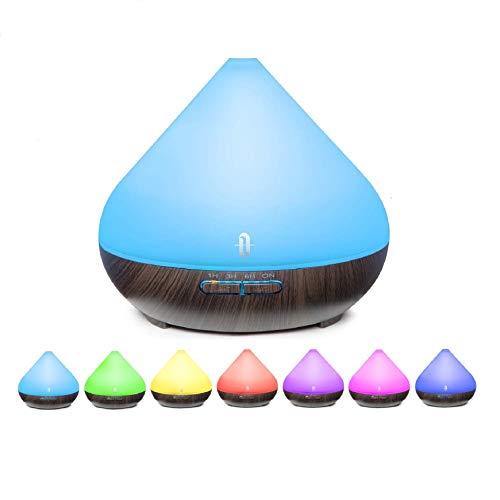 TaoTronics 300ml Difusor de ultrasonidos de aroma Vaporizador LED de 7 colores, aceites esenciales, purificador de aire, difusor Essence, control de vaporizadores y ...