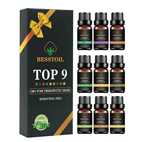 Conjunto de aceites esenciales TOP9 Aromaterapia Besstoil de grado terapéutico Regalo de aromaterapia con aceite perfumado 100% Lavanda Incienso Árbol del té Eucaliptus Limonera menta ...