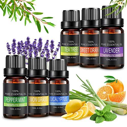Aceite esencial, aceites esenciales para difusores 6 juegos, 100% puro, kit de 10 ml cada uno (lavanda, árbol de té, eucalipto, limonera, naranja dulce, menta) para ...