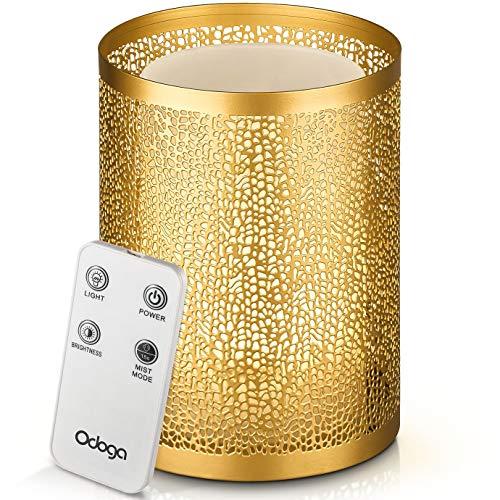 Difusor de aceites esenciales de aromaterapia Odoga, humidificador por ultrasonidos, 100 ml con efecto vela blanco cálido, recubrimiento decorativo de metal, ...