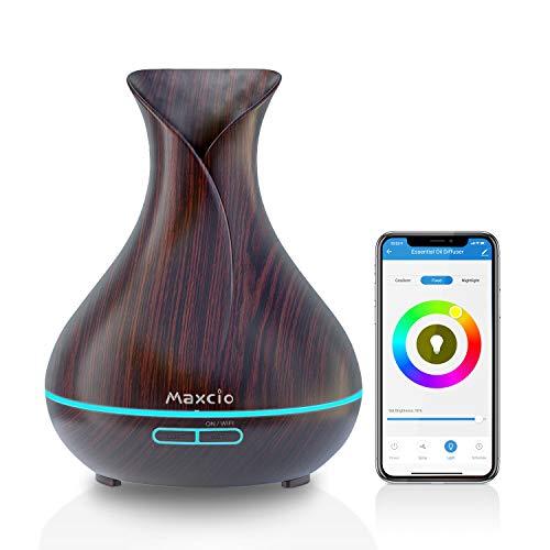 Difusor de aromas WiFi Maxcio, difusor inteligente de aceites esenciales de 400 ml compatible con Alexa / Google Home, función temporizador, fragancia ambiental con APP ...
