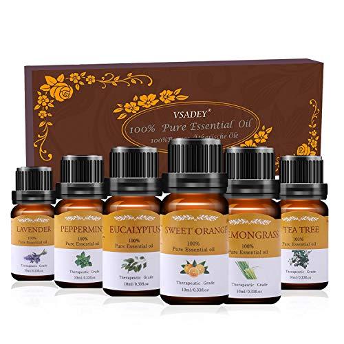 Siete de aceites esenciales Vsadey Aromaterapia 6 x 10 ml de aceite esencial por difusores 100% puro y natural (naranja dulce, lavanda, árbol del té, menta, ...
