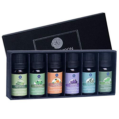 Aceite esencial de Lagunamoon, los 6 primeros conjuntos de aceites esenciales de lavanda, eucalipto, árbol del té, menta, limonera y naranja, aceite esencial para difusores ...