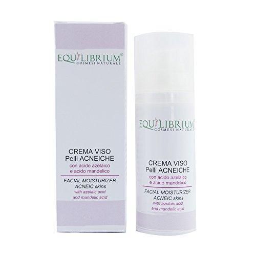 EQUILIBRIUM - COSMÉTICOS NATURALES Crema facial para la piel con acné de 50 ml con ácido azelaico y ácido mandélico
