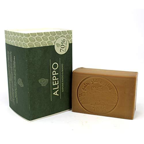 Jabón original de Alepo con un 70% de aceite de laurel - Receta tradicional - Alepo 100% puro y natural - Producto artesanal - Jabón precioso para el tratamiento ...