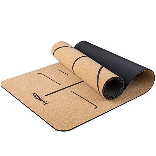Estera de yoga Homtiky Cork, estera de yoga acolchada y antideslizante, Pilates y gimnasia 100% naturales (183 * 65 * 0,7 cm)