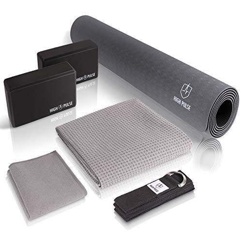 Conjunto de yoga High Pulse® (6 PIEZAS) XXL estera, 2 bloques de yoga, cinturón de yoga, toalla de yoga con almohadillas antideslizantes y toalla adicional: conjunto de yoga práctico para ...