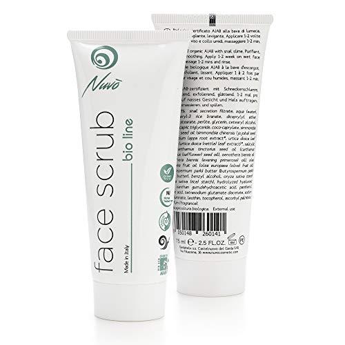 Nuvo 'Snail Slime Exfoliante facial exfoliante purificador CERTIFICADO ORGÁNICO con aceite de aceite de oliva Vitamina B5 fabricado en España 75 ml