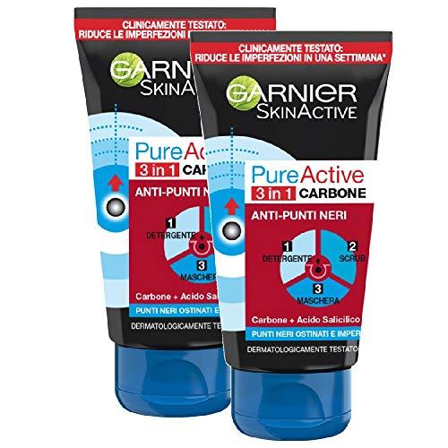 Garnier SkinActive, PureActive Charcoal 3 en 1 tratamiento anti puntos negros, piel grasa y puntos negros tercos, paquete de 2