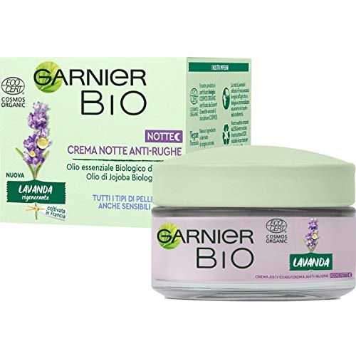 Crema de noche antiarrugas regeneradora Bio Garnier con lavanda, fórmula enriquecida con aceites orgánicos de argán y jojoba, 50 ml