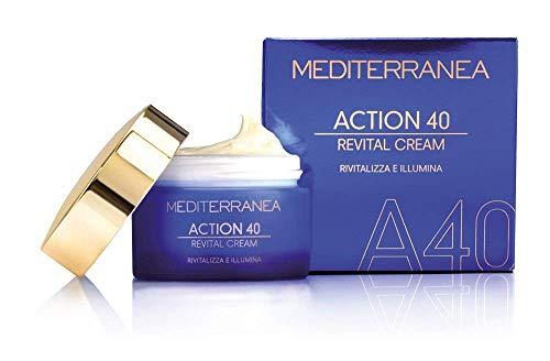Mediterranea - Crema facial de día y noche Action 40 con ácido hialurónico, ribosa, aceite de oliva, Maca y jengibre, efecto antiarrugas anti-revitalización y ...