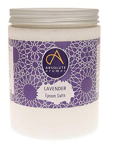 Aromas absolutos Sales de baño Epsom Infusiones de lavanda 1150g - Sulfato de magnesio - Sales de baño relajantes - Para mojar y relajar músculos y pies