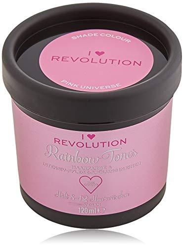 I Heart Revolution Rainbow Tones Pink Universe - Crema para el cabello semi permanente y acondicionador en un - lavable con 8-12 lavados - Vegana reutilizable - ...