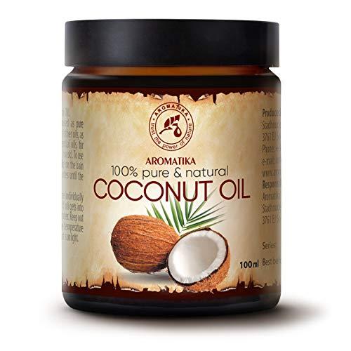 Aceite de coco sin refinar 100 ml - Natural y 100% puro - Aceite de Cocos Nucifera - Prensado en frío - Ideal para el pelo - Piel y cuerpo - Belleza - Masaje ...