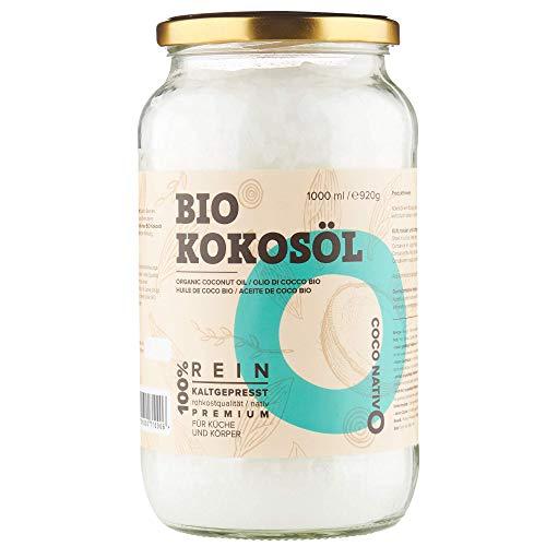 Aceite de coco orgánico virgen extra CocoNativo -1000 ml- en bruto y prensado en frío;  Orgánico y puro;  Sin procesar, (Bio Native), ideal para cabellos, por ...