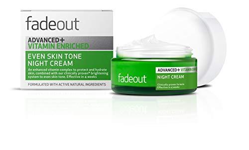 Fade Out Advanced + - Crema nocturna iluminando para la cara con niacinamida, ácido hialurónico, ácido láctico y aceite de semilla de rosa mosqueta, para una piel uniforme, 50 ml