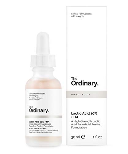 The Ordinary: 10% de ácido láctico y 10% de ácido hialurónico, suero exfoliante de 30 ml