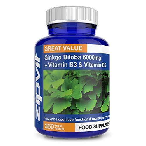Ginkgo Biloba 6000 mg Extracto de hoja estandarizado, 360 comprimidos veganos con vitamina B3 y B5.  El 24% de los glucósidos flavonoides y el 6% de los terpenoides.  Suministro para 12 ...