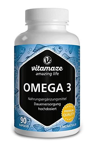 Vitamaze® Omega 3 1000mg por 1 cápsula con alta dosis, aceite de pescado puro con 400mg (40%) EPA y 300mg (30%) DHA por cápsula durante 3 meses, certificado FOS, alto ...