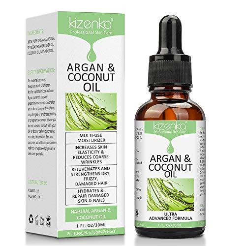aceite de argán kizenka, aceite de coco para el cuerpo, mejora la hidratación de la piel y aumenta la elasticidad de la piel, reduce las arrugas, estimula el crecimiento de ...
