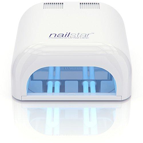 Lámpara de secador de uñas UV profesional NailStar ™ (36 vatios) con temporizador de 120 y 180 segundos para métodos de curación de helado y hielo.  Incluye bombillas de 4 x 9W