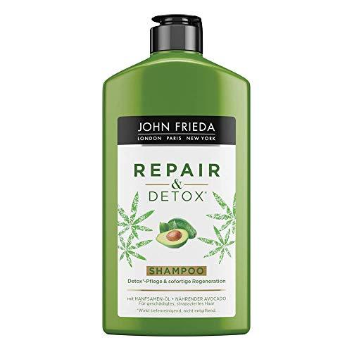 Champú John Frieda Repair & Detox - con aceite de aguacate y té verde - para cabellos colados, 250 ML