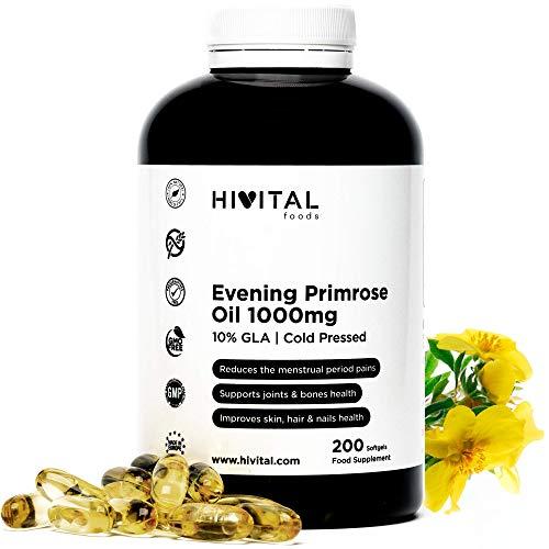 Aceite de prímula 1000 mg prensado en frío con 10% de GLA y vitamina E natural 200 cámaras blandas |  Para el equilibrio hormonal y la salud articular de una mujer, ...