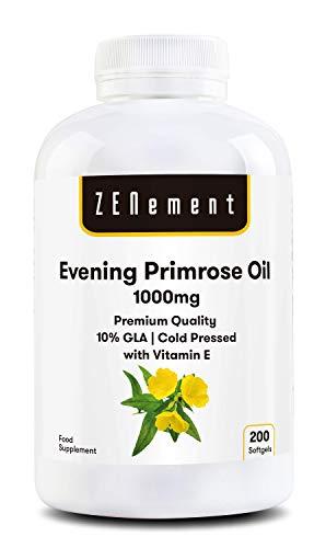 Aceite de onagra con vitamina E |  1000 mg x 200 cápsulas |  Alta calidad: 10% GLA, prensado en frío |  Equilibrio hormonal de las mujeres |  Salud de la piel y ...