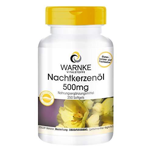 Aceite de onagra 500 mg - Con vitamina E natural - Prensado en frío - 250 geles suaves