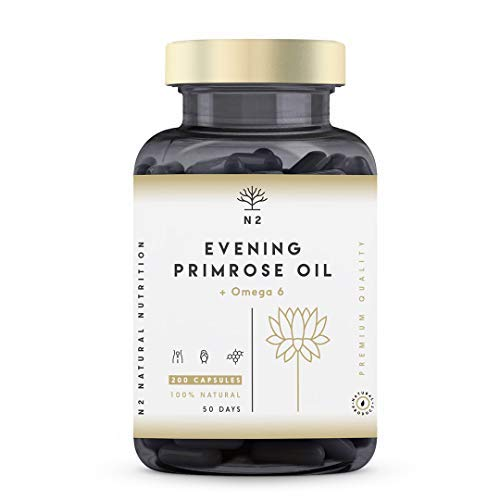 Aceite de prímula 200 perlas prensadas en frío 2000 mg 10% GLA con vitamina E. Equilibrio hormonal, menopausia y síndrome premenstrual.  Antioxidante para la piel, ...
