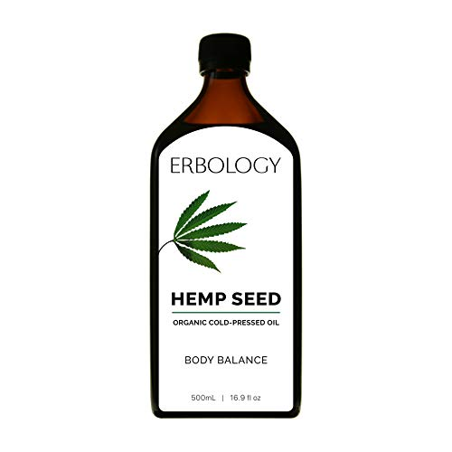 Aceite de semilla de cáñamo orgánico 500 ml - Prensado en frío - Omega 6 - Omega 3 - Vitamina E - Antioxidantes