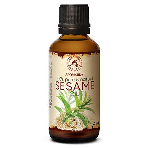 Aceite de sésamo 50 ml - Sesamum Indicum - México - 100% natural y puro - Aceite básico - Cuidados intensivos para la cara - Cuerpo - Cabello - Uso puro - Aceite para cabello - ...