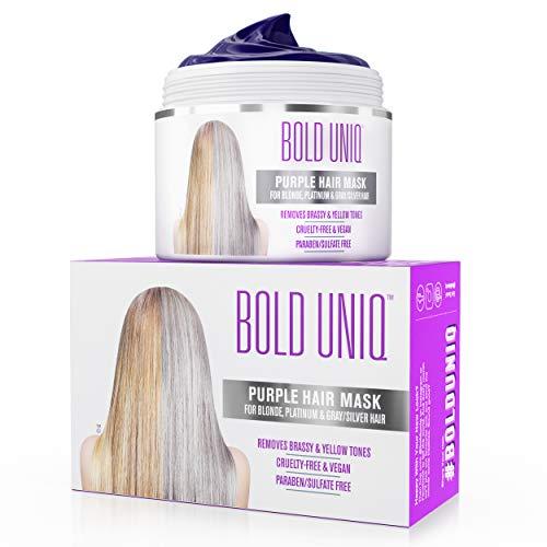 Máscara anti-amarillo para el cabello: tóner púrpura para los cabellos rubios y plateados - Revitaliza el color del cabello - Tóner fortalecedor libre de sulfatos para el pelo ...