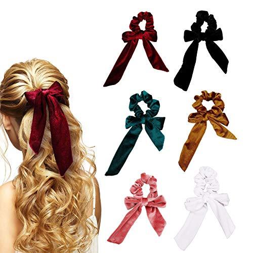 Arcos de caucho para el cabello Bandas elásticas de terciopelo Colas para el cabello Arcos de cuerda Accesorios de cola de caballo para mujeres o niñas 6 piezas