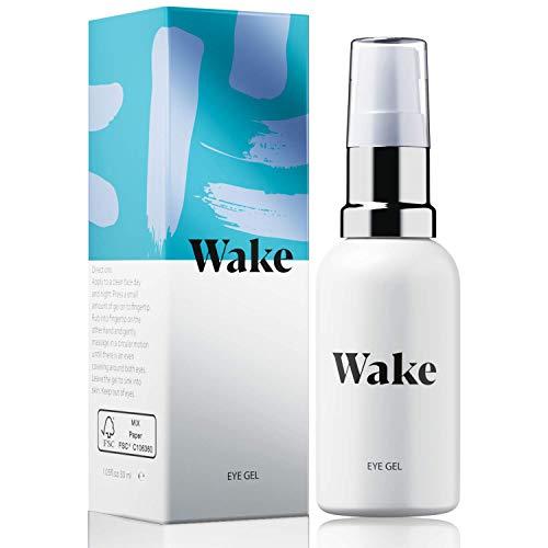 Gel hidratante WAKE para ojeras y bolsas bajo los ojos, crema contorno de ojos - Vitamina E - Colágeno - crema facial antiarrugas 30 ml - Crema facial y de ojos para hombre y ...