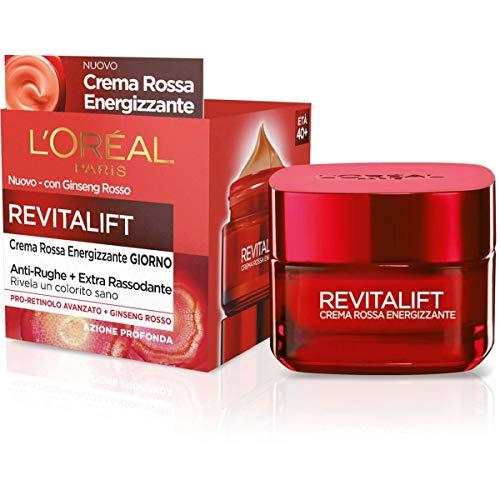 L'Oréal Paris Treatments Revitalift Crema Facial de Día Antiarrugas Energizante, Fórmula Extra Reafirmante Enriquecida con Ginseng Rojo y Proretinol Avanzado, 50 ml