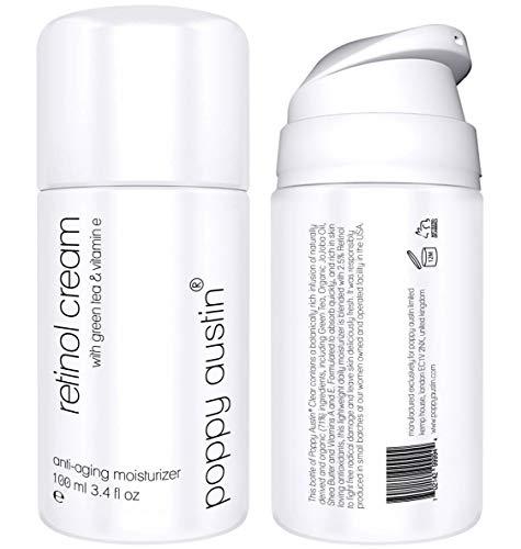 Poppy Austin Best Retinol Cream for Day and Night - Botella gigante de 100 ml - Crema facial hidratante anti-envejecimiento con vitamina E, té verde, ...