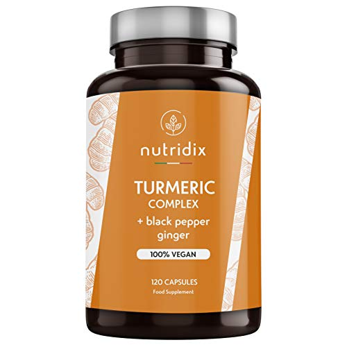 Cúrcuma orgánica con pimienta negra y jengibre: potente antioxidante y antiinflamatorio con curcumina y piperina 100% vegetal - 120 cápsulas Nutridix