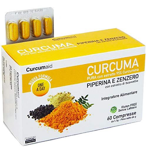 Agocap CURMÈRICA Y piperina PLUS 95% - 60 Comprimidos de cúrcuma y piperina EN BLÍSTER con extracto de jengibre y Boswellia [formula ONE A DAY] Complementos alimenticios 100% ...