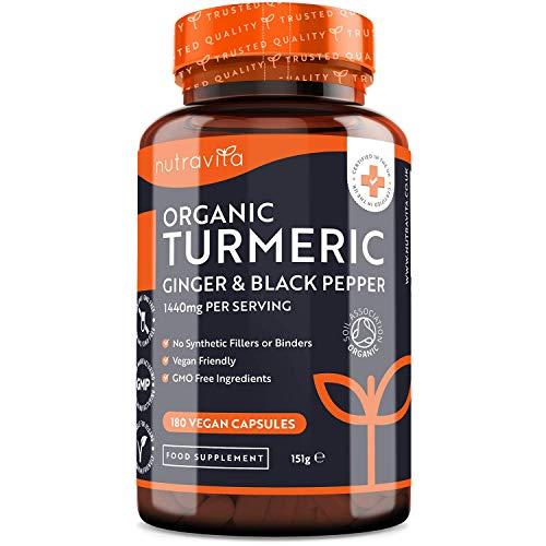 Cúrcuma Orgánica 1440 mg con piperina y jengibre - 180 cápsulas de cúrcuma y piperina vegana de alta dosis (suministro de 3 meses) - Ingrediente activo de curcumina ...