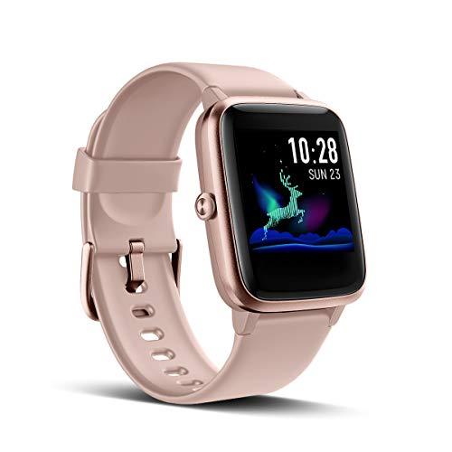 Reloj inteligente LATEC Notificaciones de mensajes de reloj inteligente para iPhone Reloj de teléfono Android Rastreador de fitness Monitor de ritmo cardíaco Podómetro de muñeca Calorías Cronómetro GPS ...