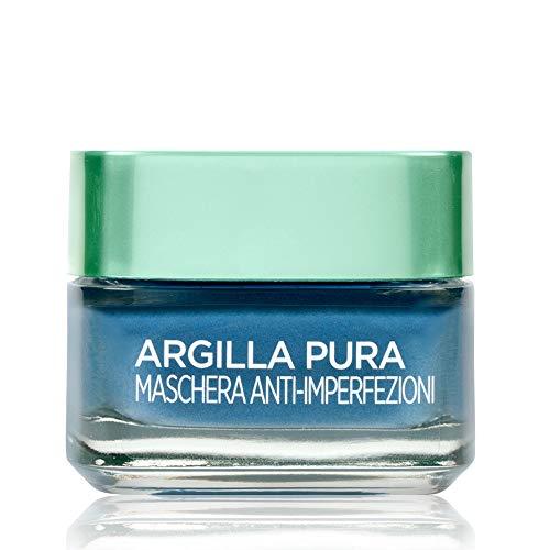 L'Oréal Paris Mascarilla facial de arcilla pura, acción anti-imperfección, actúa sobre puntos negros y poros encogidos, con algas y 3 arcillas minerales, 50 ml