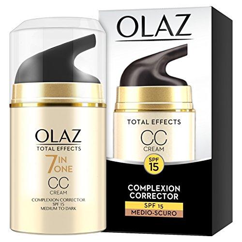 Olaz Total Effects CC Cream, 7 ventajas en 1, crema facial para uniformes tintados, hidratante e iluminando, protector solar SPF15, medio-oscuro - 50 ml