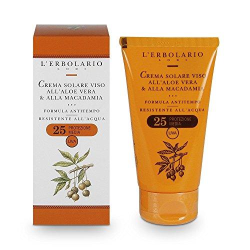 Crema solar facial El Erbolario que contiene Aloe Vera y Macadamia Nut con SPF 25