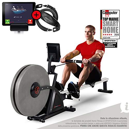 Máquina de remo profesional Sportstech RSX600, transmisión de aire magnética, control de teléfonos inteligentes, 16 programas de entrenamiento, 16 niveles de resistencia, cinturón de polvo ...