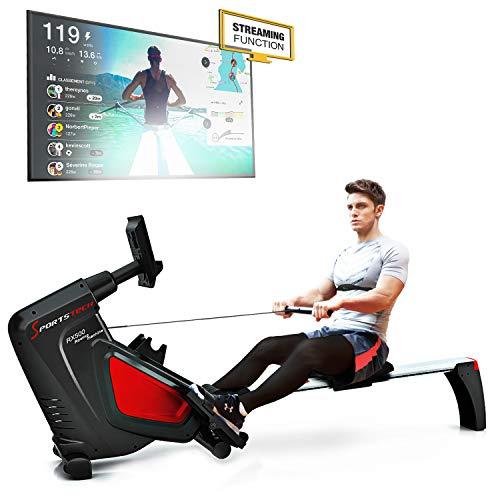 Remadores Sportstech RSX500 - marca alemana de calidad - Eventos de vídeo y aplicación multijugador - Cinturón cardio incluido (en el valor de 39,90) -16 programas -...