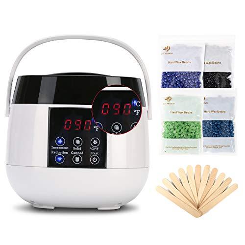 Calentador de cera profesional con pantalla LED para la depilación brasileña, gránulos de cera, puede de cera, etc., kit de depilación con 4 bolsas de cera, 20 espátulas de cera, ...