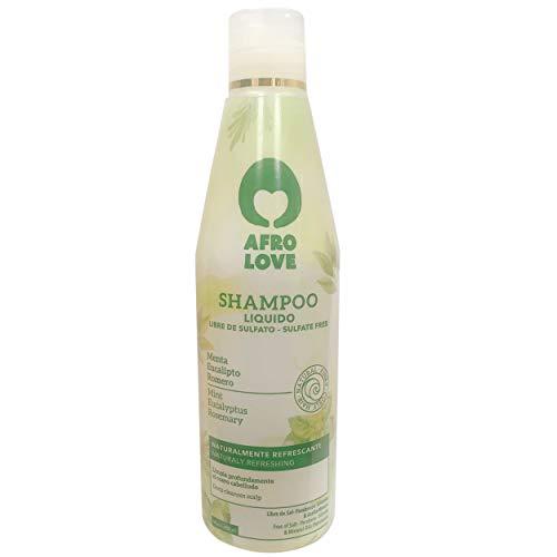 Champú refrescante Afro Love sin sulfatos, parabenos y silicona para cabellos rizados 290 ml con menta, eucalipto y romero - sin veganitat y crueldad