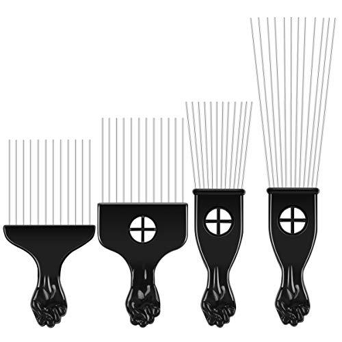 4 unidades Afro Pick Pik Comb Cepillo para el pelo afroamericanos Pinturas para pintar de metal Herramienta de estilo de peluquería