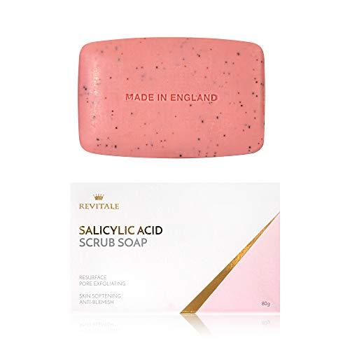 Jabón exfoliante exfoliante de poros de ácido salicílico, lucha contra el acné, suaviza la piel, anti-manchas, elimina las verrugas